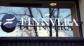 Finnvera-kyltti Helsingin pääkonttorin ikkunassa.