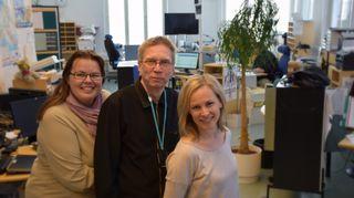 Nina Keski-Korpela, Timo Leponiemi ja Laura Hossi Yle Hämeen toimituksessa
