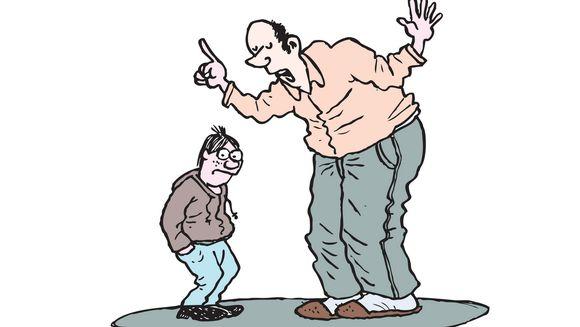 Aikuinen tilittää piirroksessa sormi pystyssä kyllästyneelle teinille