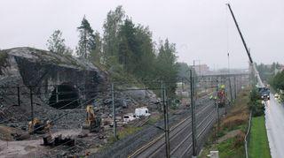 Kolmioraiteen pohjoisen aukko ja räjäytyspaikka