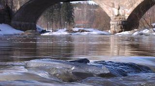 Vesi virtaa joessa sillan alla