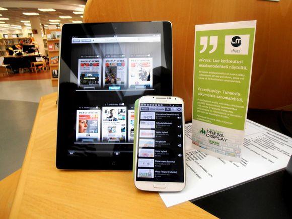 digilehti, älylaite, kirjasto, älypuhelin, tablet, epress, pressdisplay