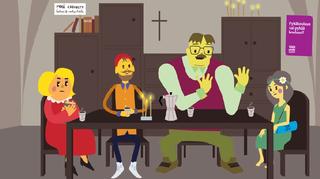 Animaatiosarjan hahmot istuvat pöydän ympärillä