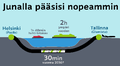 Laivamatka Tallinnaan kestää kaksi tuntia, huhti-lokakuussa tunnin ja 40 minuuttia. Junalla matka kestäisi vain puoli tuntia.