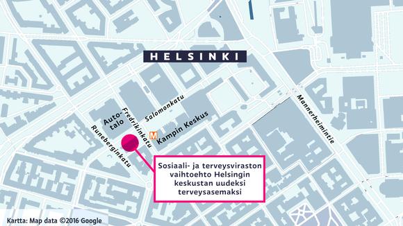 Sosiaali- ja terveysviraston vaihtoehto Helsingin keskustan uudeksi terveysasemaksi on Salomonkadun ja Runebergin kadun kulmassa.