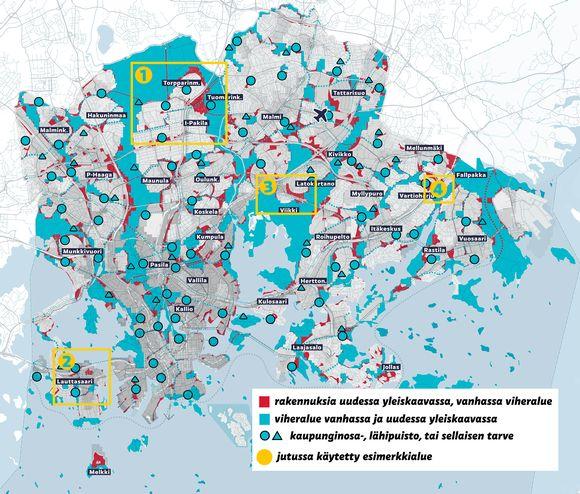 Karttaan on merkitty punaisella on ne alueet, jotka on merkattu vanhaan yleiskaavaan viheralueiksi, mutta uudessa yleiskaavaehdotuksessa rakennuksille.