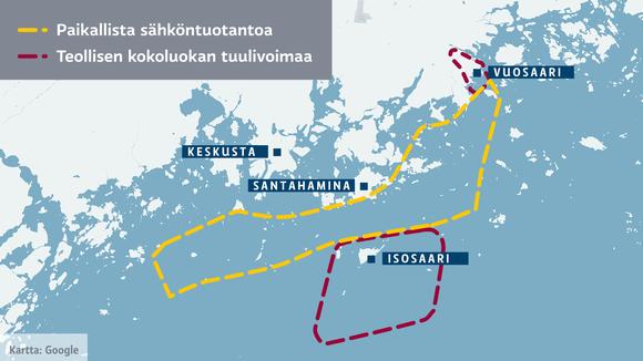 Kartta Helsingin edustan mahdollisista tuulivoima-alueista. Teollista tuulivoimaa Vuosaareen ja Isosaareen sekä sen eteläpuolelle. Paikallista tuulivoimaa näiden väliin koko alueelle.