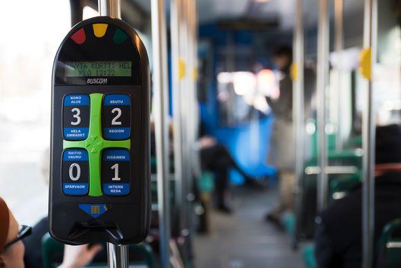 matkalipun leimauskone raitiovaunussa