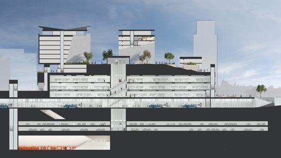 Nykyisen kauppakeskuksen katolle tulee asuntoja ja alle metroasema sekä bussiterminaali.
