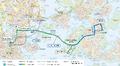 kartta uusista raitiovaunureiteistä Helsingissä