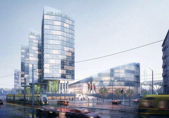 Monitoimihallin yhteyteen tulisi myös mittavia hotelli- ja asuinrakennuksia.