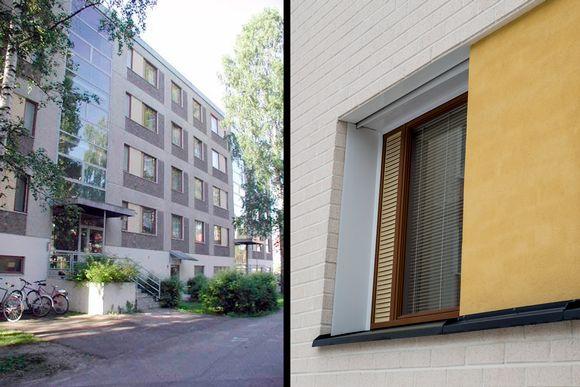 Vanhan ja peruskorjatun kerrostalon seinä ja ikkunoita.
