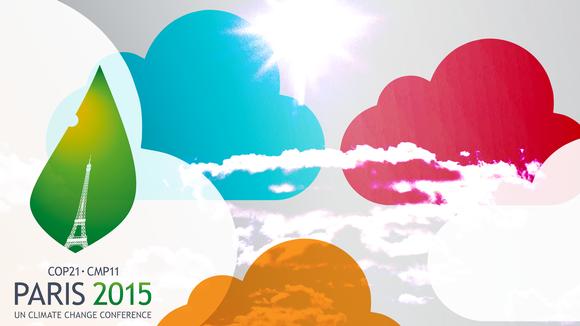 Grafiikka, jossa Pariisin ilmastokokouksen logo.