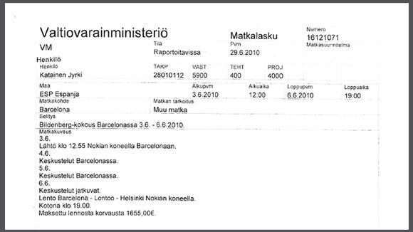 Yksityiskohta Jyrki Kataisen matkalaskusta.