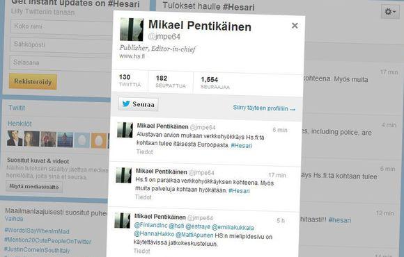 Mikael Pentikäisen Twitter-päivityksiä verkkohyökkäyksestä.