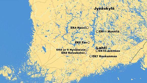Kartta Jyväskylän MM-rallin perjantain reitistä.
