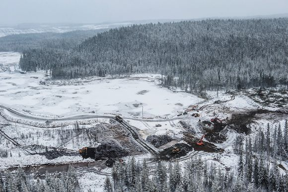 Aerial view of dam-building work on the south side of the Talvivaara mine area.