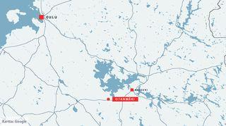 Google-kartta Otanmäki Kajaani Oulu, henkirikosuutinen