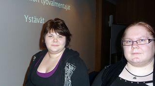 Anette Haataja ja Katja Remsu animaation ensiesityksessä