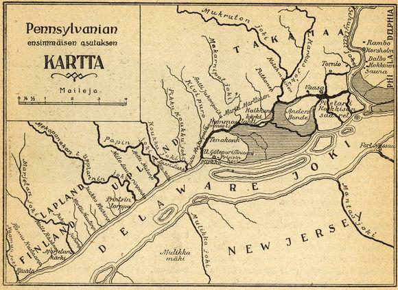 Pennsylvanian ensimmäisen asutuksen kartta 1923 I.K. Inhan teoksesta Maantiede ja löytöretket III.
