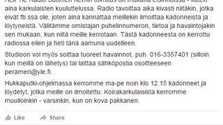 Osku koiraa haettiin myös Radio Suomen avulla Kemissä.