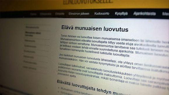 Kuvassa munuaiisen luovutuksesta kertova sivu internetissä.