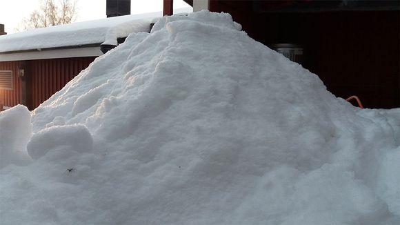 Lumikasa, jonka taustalla nä'kyy osa rakennusta.