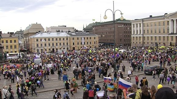 2012 Helsinki Pride parade assembling at Senate Square.
