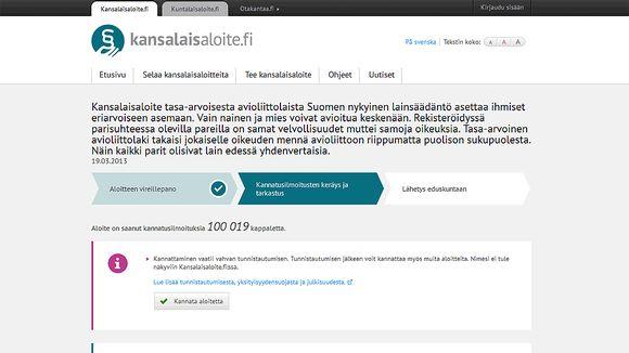 kansalaisaloite.fi -sivu.