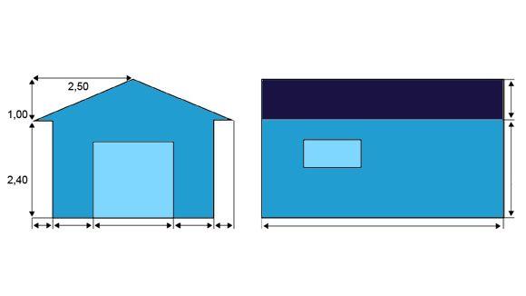 Kohde Pisa-kokeesta, jossa pitäisi laskea katon kokonaispinta-ala neliömetrin tarkkuudella.