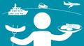 Audio: Ihminen kannattelee käsissään makkaratikkua ja pihvilautasta. Taustalla laiva, lentokone ja auto.