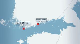 Kartta Hankoniemen sijainnista.