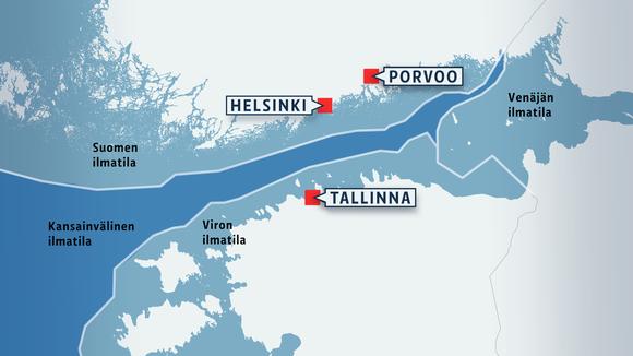 Kartta Suomen, Viron, Venäjän ja kansainvälisestä ilmatilasta Suomenlahdella.