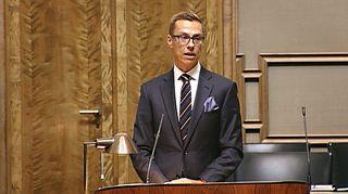 Pääministeri Alexander Stubb eduskunnassa tiistaina.