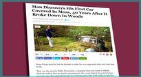 Kuvakaappaus Huffingtonpost.com -nettisivuilta jutusta, joka käsittelee Pekka Nummelinin uudelleen löytämäänsä sammaloitunutta autoaan.