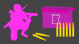 Siluettimaisessa kuvassa on sotilas singon kanssa, panoksia ja armeijan laatikko.