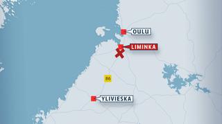 Kartta Ylivieska-Liminka-Oulu -alueesta.