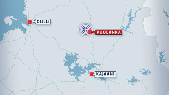 Kartta Oulu-Puolanka-Kajaani -alueesta.