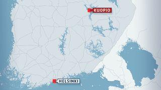 Kartta Helsinki-Kuopio -alueesta.