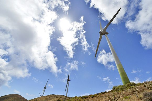 El Hierro -saaren tuulivoimala Kanariansaarilla.
