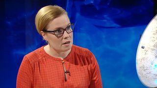 Laura Räty Ylen A-studion vieraan 23. helmikuuta.