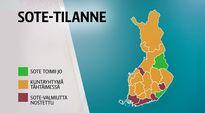 Suomen kartassa näkyy SOTEn vaiheet eri puolilla Suomea.