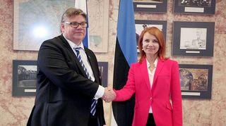 Timo Soini ja Keit Pentus-Rosimannus tapaavat Tallinnassa.