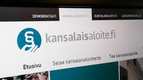 Kansalaisaloite.fi-sivuston otsikkopalkki.