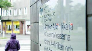 Läntinen A-klinikka ja katkaisuhoitoasema kyltti.