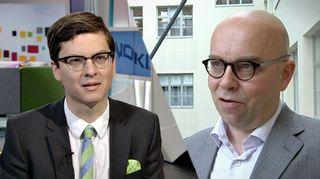 Inderes-analyysiyhtiön Mikael Rautanen ja OP:n seniorianalyytikko Hannu Rauhala.