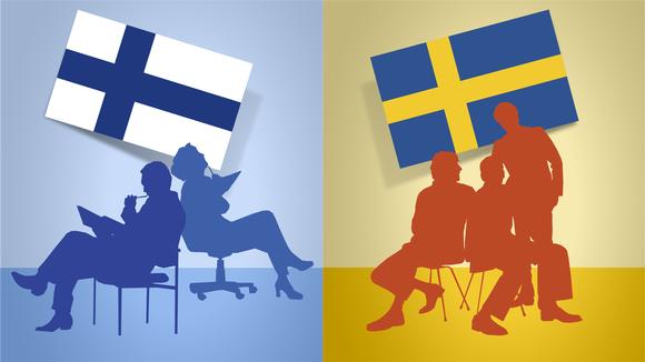 Kuvitus sopimimiskulttuurista Suomessa ja Ruotsissa.