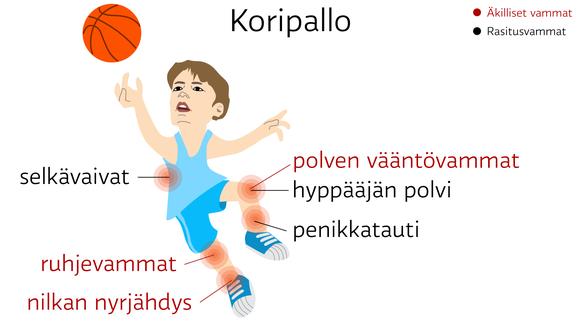 Koripallo: äkilliset vammat: nilkan nyrjähdys ja polven vääntövammat. ruhjevammat. rasitusvammat: hyppääjän polvi, penikkatauti ja selkävaivat
