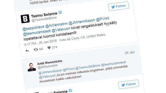 Kuvakaappaus Teemu Selänteen tweetistä.