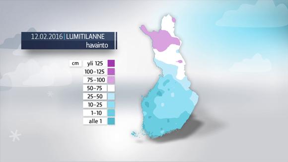 Lumisimmat paikat Kittilä, Pokka 96 cm, Kittilä, Kenttärova 94 cm, Puolanka, Paljakka 90 cm.
